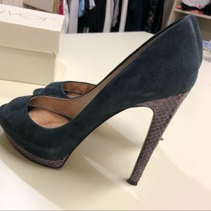 Joan & David  Peep Toe heels with faux snakeskin